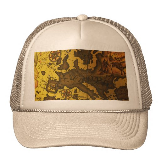 Map of Europe Mesh Hats