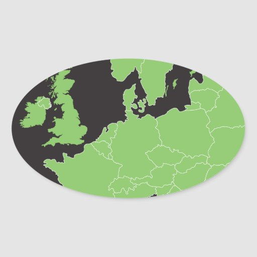 Map of Europe Oval Sticker