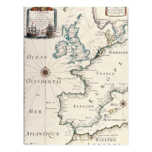 Map of Europe Post Cards