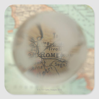 Map of Europe seen through crystal ball 2 Square Sticker