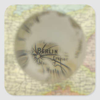 Map of Europe seen through crystal ball 3 Square Sticker