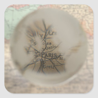 Map of Europe seen through crystal ball 5 Square Sticker