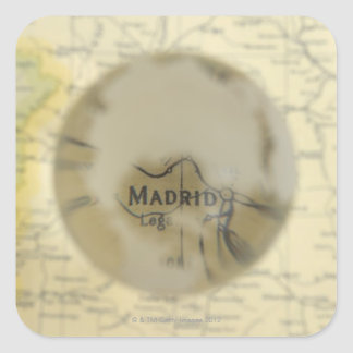 Map of Europe seen through crystal ball Square Sticker