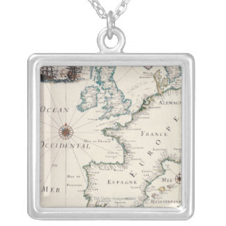 Map of Europe Square Pendant Necklace