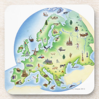 Map of Europe with illustrations of famous Beverage Coaster