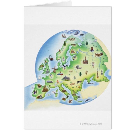 Map of Europe with illustrations of famous Card
