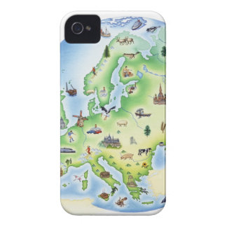 Map of Europe with illustrations of famous Case-Mate iPhone 4 Case
