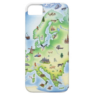 Map of Europe with illustrations of famous iPhone SE/5/5s Case