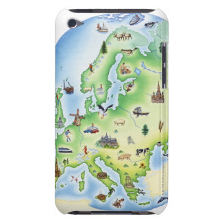 Map of Europe with illustrations of famous iPod Case-Mate Case