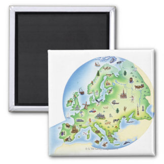 Map of Europe with illustrations of famous Fridge Magnets