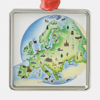 Map of Europe with illustrations of famous Metal Ornament