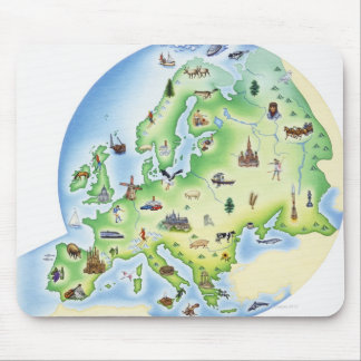 Map of Europe with illustrations of famous Mouse Pad