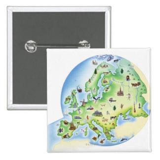 Map of Europe with illustrations of famous Pinback Button