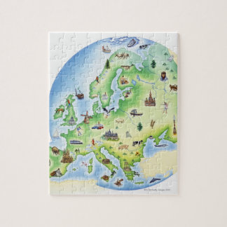 Map of Europe with illustrations of famous Puzzles
