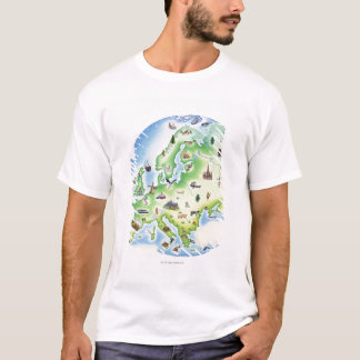 Map of Europe with illustrations of famous T-Shirt