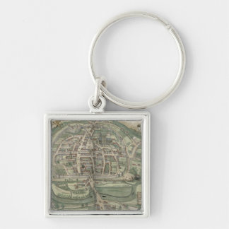 Map of Exeter, from 'Civitates Orbis Terrarum' by Silver-Colored Square Keychain