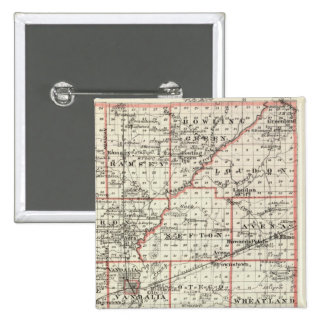 Map of Fayette County, Mt Vernon and McLeansboro Pinback Button