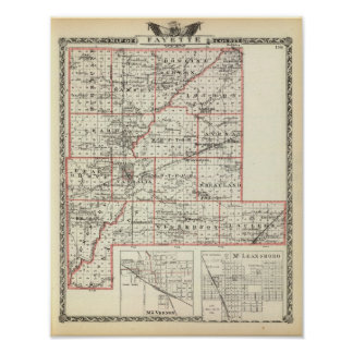 Map of Fayette County, Mt Vernon and McLeansboro Poster