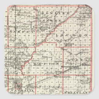 Map of Fayette County, Mt Vernon and McLeansboro Square Sticker