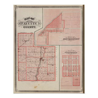 Map of Fayette County with East Connersville Poster