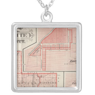 Map of Fayette County with East Connersville Silver Plated Necklace