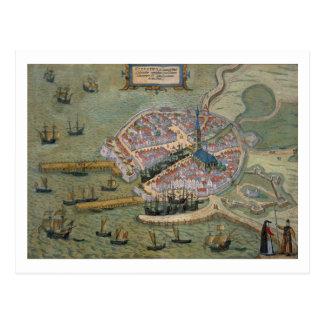 Map of Flissinga, from 'Civitates Orbis Terrarum' Postcard