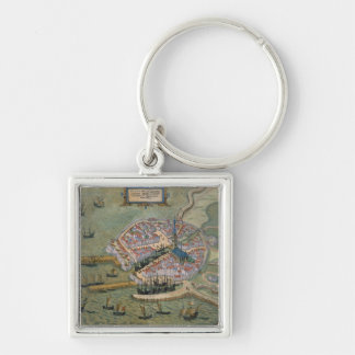 Map of Flissinga, from 'Civitates Orbis Terrarum' Silver-Colored Square Keychain