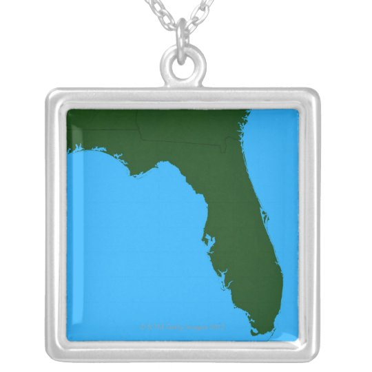 Map of Florida 2 Silver Plated Necklace