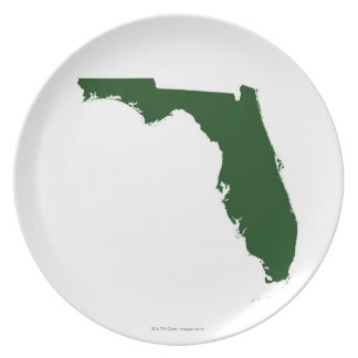 Map of Florida 3 Dinner Plate
