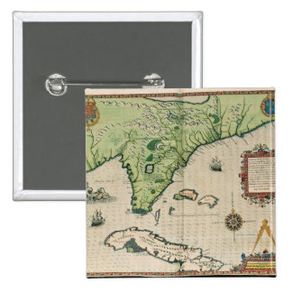 Map of Florida, from 'Brevis Narratio' 2 Inch Square Button