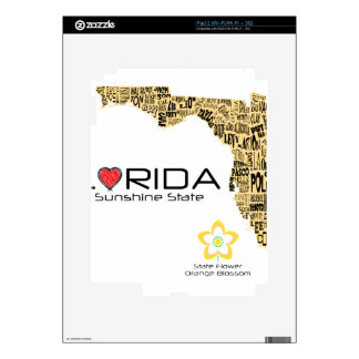 Map of Florida with all counties spelled out iPad 2 Skins