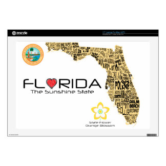 Map of Florida with all counties spelled out Laptop Skins