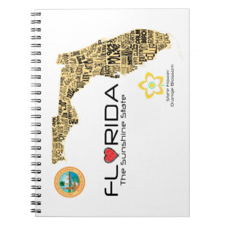 Map of Florida with all counties spelled out Spiral Notebook