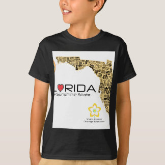 Map of Florida with all counties spelled out T-Shirt