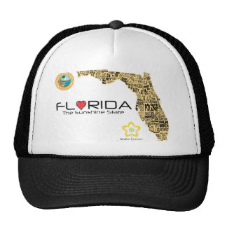 Map of Florida with all counties spelled out Trucker Hat