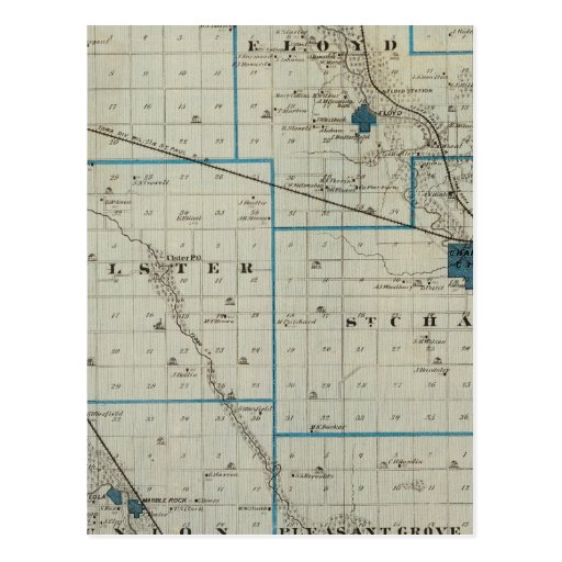 Map of Floyd County, State of Iowa Post Cards