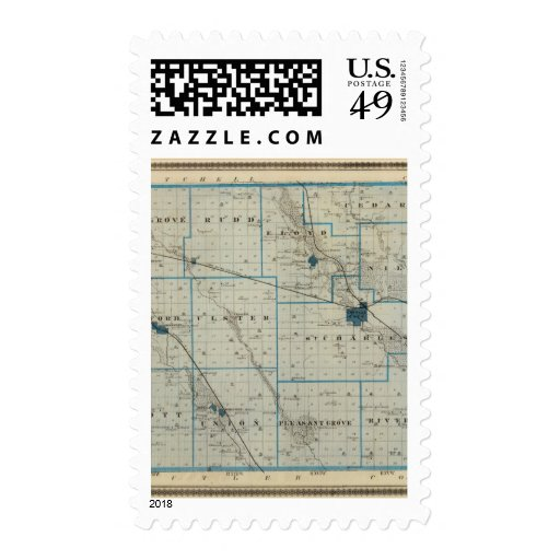 Map of Floyd County, State of Iowa Postage Stamps