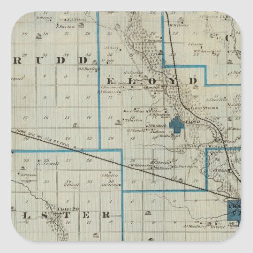 Map of Floyd County, State of Iowa Square Sticker