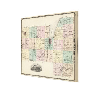 Map of Fond du Lac County, State of Wisconsin Stretched Canvas Prints