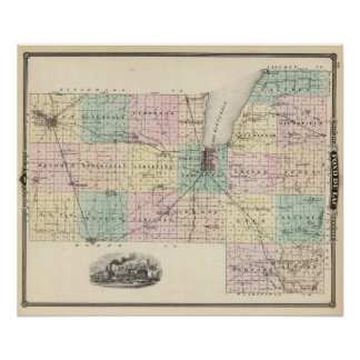 Map of Fond du Lac County, State of Wisconsin Posters