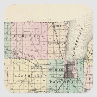 Map of Fond du Lac County, State of Wisconsin Square Sticker