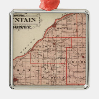Map of Fountain County Square Metal Christmas Ornament