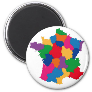 Map of France 2 Inch Round Magnet