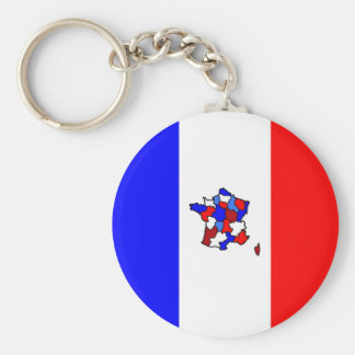 Map of France and  French Flag Keychain