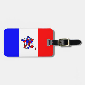 Map of France and French Flag Bag Tag
