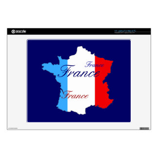 "Map of France in Red White and Blue Decals For 14"" Laptops"