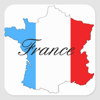 Map of France in Red White and Blue Square Sticker