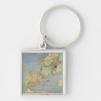 Map of France, Spain and North-West Africa Keychain