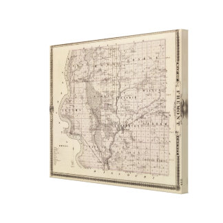 Map of Fremont County, State of Iowa Canvas Print