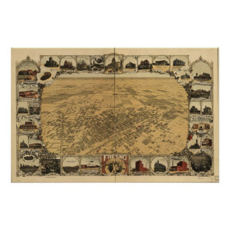 Map of Fresno, Birds-Eye View, 1901 Poster